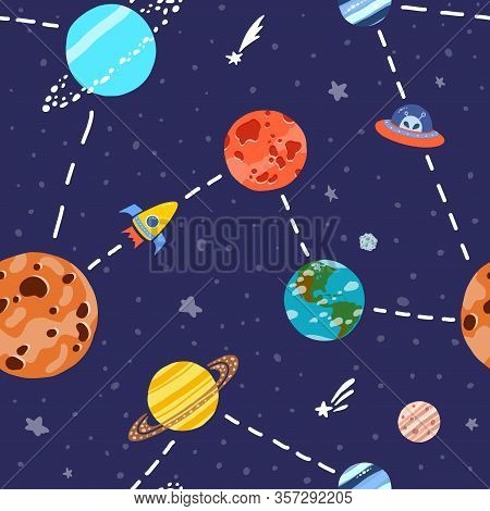 Cosmic Fabric For Kids. Space Exploration Concept. Bright Childish Tile. Cute Design For Kids Fabric