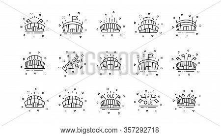 Ole Chant, Arena Football, Championship Architecture. Sports Stadium Line Icons. Arena Stadium, Spor