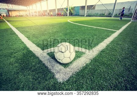 Soccer Player Jogging And Jump Between Marker For Football Training. Ladder Drills Exercises For Foo