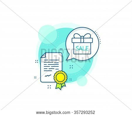 Present Or Sale Sign. Certification Complex Icon. Gift Box Line Icon. Birthday Shopping Symbol. Pack