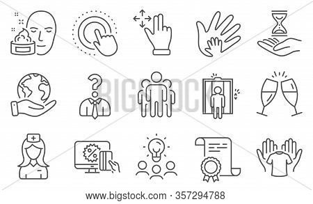 Set Of People Icons, Such As Hold T-shirt, Hospital Nurse. Diploma, Ideas, Save Planet. Click Hand,