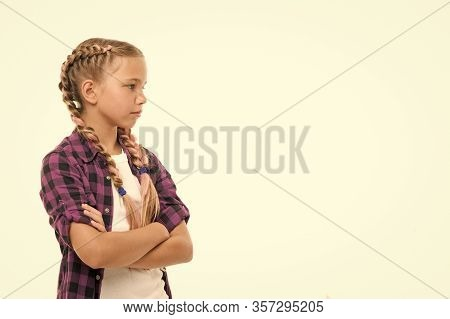 Show Off Long Healthy Locks. Kid Wear Plait Hair Isolated On White. Small Kid With Beauty Look. Litt
