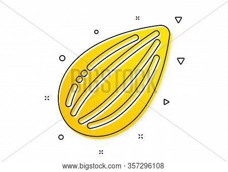 Tasty Nuts Sign. Almond Nut Icon. Vegan Food Symbol. Yellow Circles Pattern. Classic Almond Nut Icon