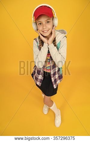 Cool Schoolgirl. Teens Fashion. Cheerful Teenager. Small Child Girl Long Hair. Teenager Lifestyle. S