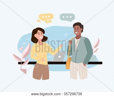 Two Young Multiethnic Friends, A Young Man And Woman, Meeting Standing Chatting And Smiling With Spe