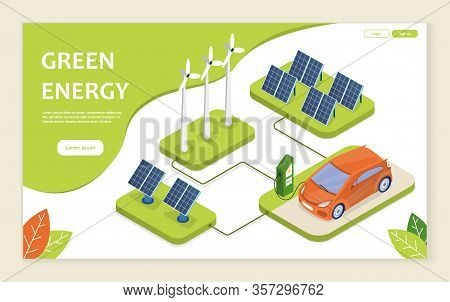 Sustainable And Renewable Green Energy Concept With An Electric Car Charging At A Charge Point, Wind