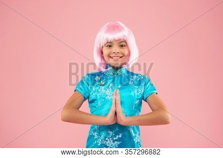 Get Peace Of Mind. Happy Child Do Meditation Holding Hands In Namaste. Meditation Or Prayer. Small G