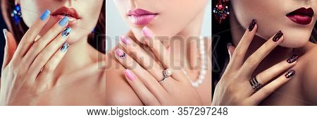 Nail Art Design. Three Looks Of Woman With Perfect Make-up And Blue Pink Red Manicure. Fashionable J