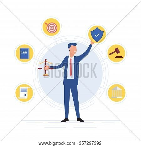 Smiling Lawyer Holding The Scales Of Justice Surrounded By Legal Icons With Law Book, Target, Shield