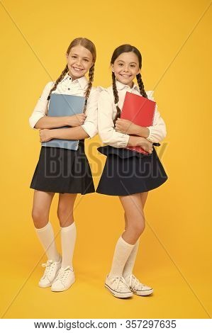 Back To School. Cheerful School Girls. Point Out Positive Aspects Starting School Create Positive An
