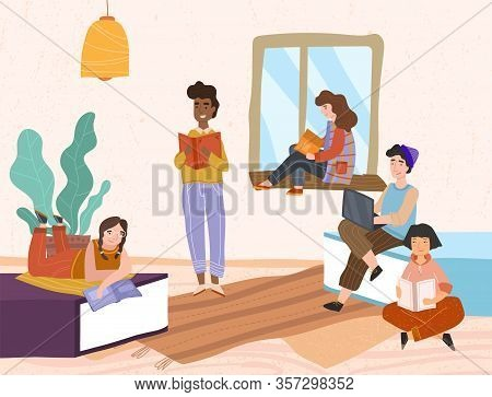 Group Of Diverse Young Friends Relaxing Reading Books Indoors With One Working On A Laptop Reading A