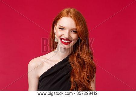Romance, Elegance, Beauty And Women Concept. Elegant Good-looking Redhead Woman In Black Stylish Dre