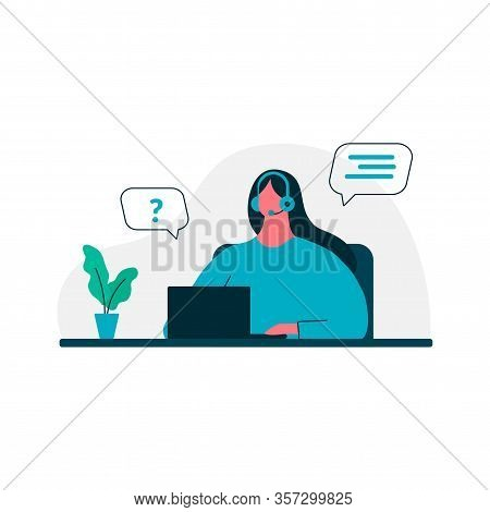 Customer Service. Woman With Headphones And Microphone With Laptop. Online Technical Support 24-7, A