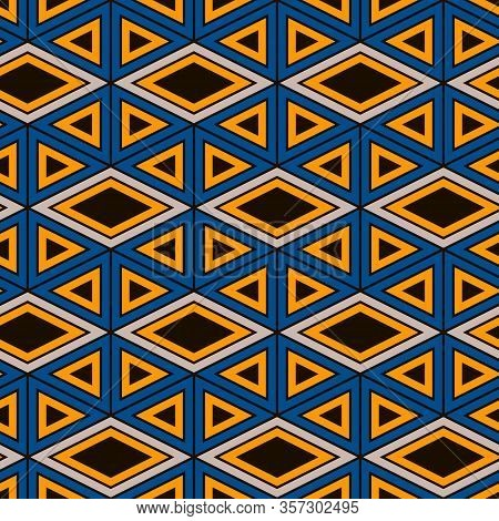 Ethnic, Tribal Seamless Surface Pattern. Native Americans Style Background. Repeated Diamond, Triang