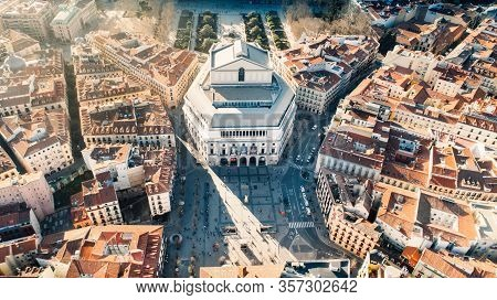 Royal Theatre Building Teatro Real In Madrid.major Opera House Located In Plaza De Isabel Ii. Aerial