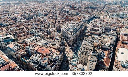 Aerial View Of Calle De Alcala And Calle Gran Via.panoramic Aerial View Of Gran Via, Main Shopping S