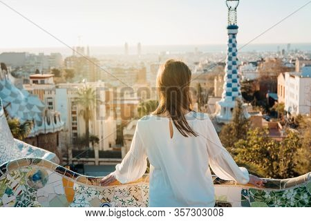 Young Female Tourist Spending Vacation In Barcelona,catalonia,spain.traveling To Europe,visiting Par