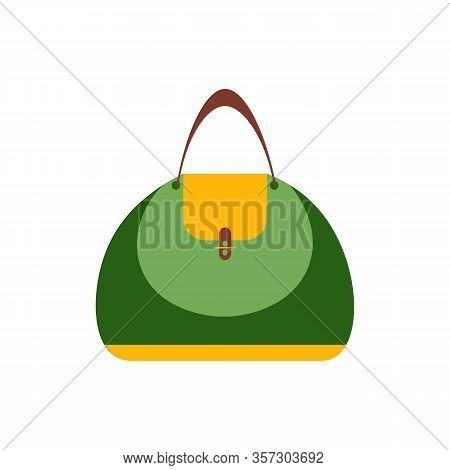Women Handbag Flat Icon, Blue Modern Bag Isolated On White. Vector Hand Bag Illustration