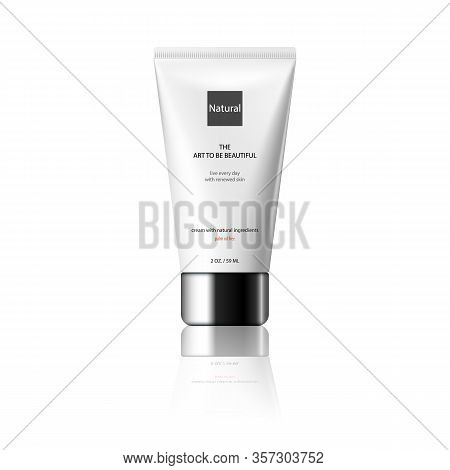 Vector 3d Design Cosmetics Tube Product Template For Advertising. Cosmetics Packaging