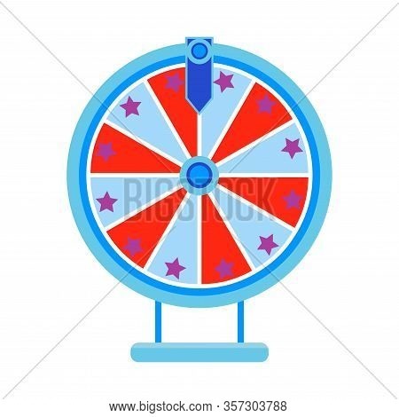 Cartoon Wheel Fortune Lottery Design Element. Spinning Lucky Fortune Isolated On White. Vector Illus