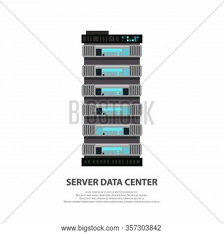 Cartoon Server Data Center Icon In Flat Style Isolated On White. Big Data Computer Rack For Cloud Wo