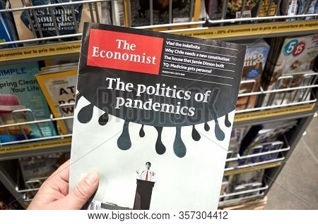 Montreal, Canada - March 23, 2020: The Economist Magazine With The Politics Of Pandemics Title. The