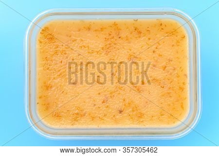 Top View Home Made Multi Layer Cake On Blue Background