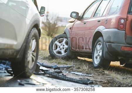 car crash accident on street. damaged automobiles