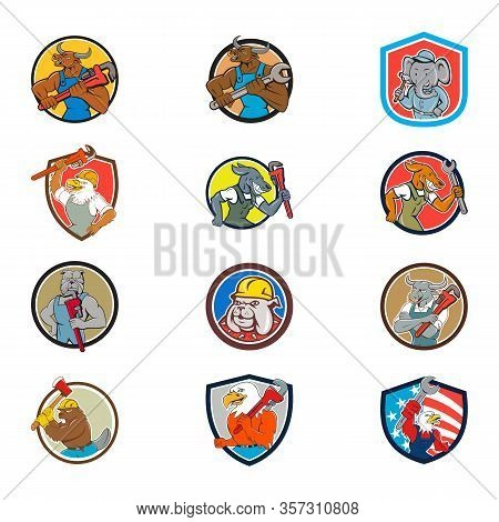 Set Collection Of Cartoon Character Mascot Illustration Of Animal Tradesman Industrial Workers Like