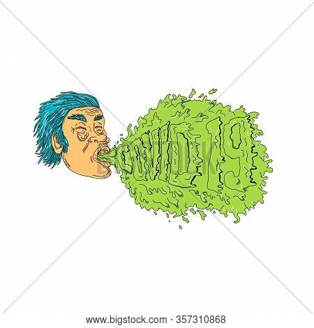 Grime Art Style Illustration Of A Man With Coronavirus, Covid-19 Or 2019-ncov, Coughing Or Sneezing