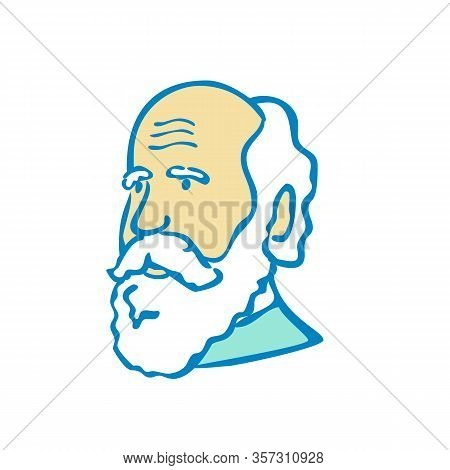 Doodle Art Illustration Of A Nerdy Scientist Or Charles Darwin With White Beard Done In Cartoon Styl