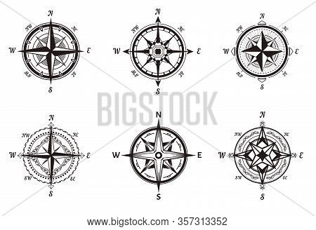 Compasses Isolated Icons, Rose Of Wind, Nautical Navigation