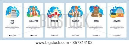 Russian Stereotypes. Bear With Balalaika, Russian Girl In Traditional Dress, Caviar, Teapot. Mobile