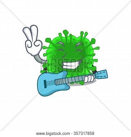 Supper Cool Minunacovirus Cartoon Playing A Guitar