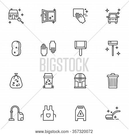 Cleaning Service Line Icons Set. Linear Style Symbols Collection, Outline Signs Pack. Vector Graphic