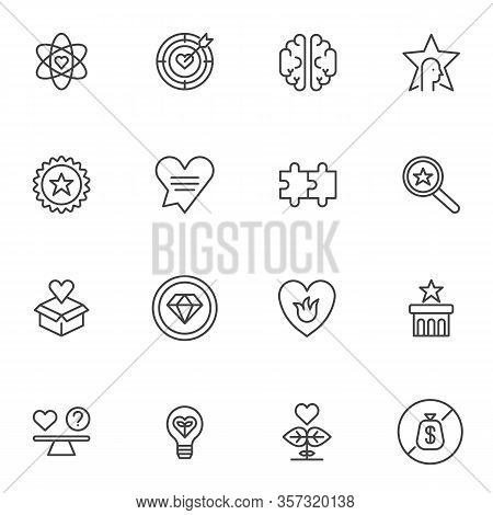 Social Responsibility Line Icons Set. Linear Style Symbols Collection, Business Ethics Outline Signs