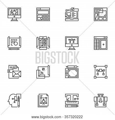 Graphic Design Line Icons Set. Idea, Creativity Linear Style Symbols Collection, Outline Signs Pack.