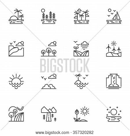 Nature, Landscape Line Icons Set. Linear Style Symbols Collection, Outline Signs Pack. Vector Graphi