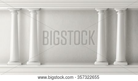 Ancient Greek Architecture With Pillars. Vector Realistic Antique Building With White Marble Wall An