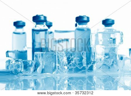 ampoule on vaccine. on white