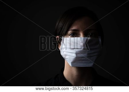 Adult Woman Wearing Hygienic Mask To Prevent Infection, Airborne Respiratory Illness Such As Flu, 20
