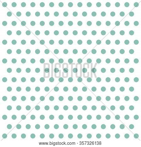 Easter Pattern Polka Dots. Template Background In White And Green Polka Dots . Seamless Fabric Textu