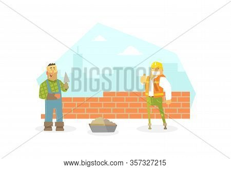 Male Builder Buiding Brick Wall, Construction Worker Character Flat Vector Illustration, Web Design.