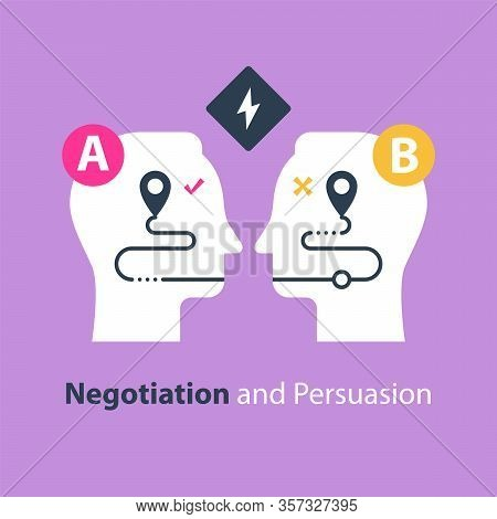 Negotiation And Persuasion, Communication Concept, Two Sides, Common Ground, Mutual Understanding, V