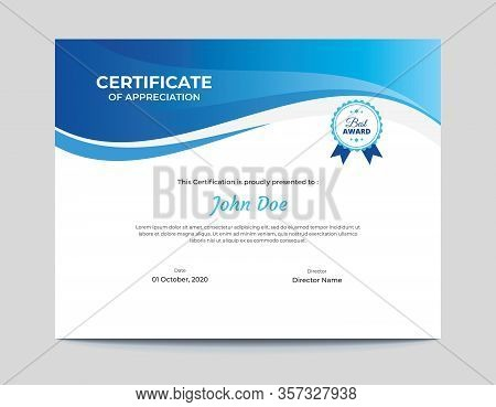 Abstract Blue Waves Certificate Design || Abstract Vector Waves Background Letter Certificate 11x8.5