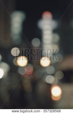 Abstract Blur Image Of Colorful Night Light City Tower Background, Vintage Tone