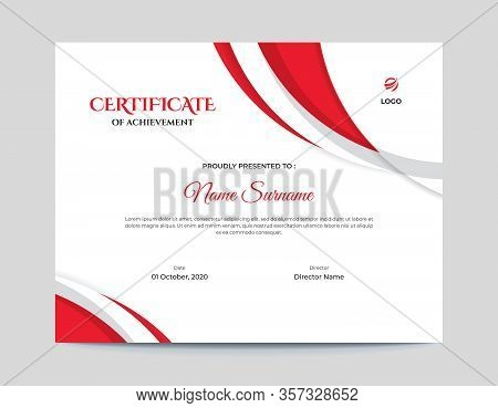 -abstract Red Shapes Certificate Template || Abstract Red Shapes Vector Background -letter Certifica