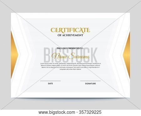 Simple Gold Ans White Geometric Shapes With Shadow Certificate Design