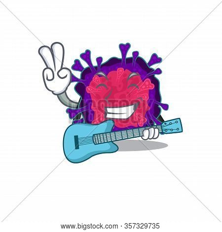 Supper Cool Nyctacovirus Cartoon Playing A Guitar