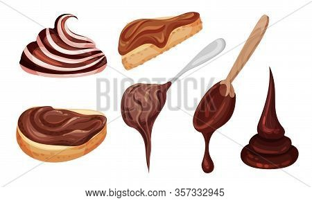 Chocolate Thick Paste On Spoon And Spreaded On Bread Vector Set